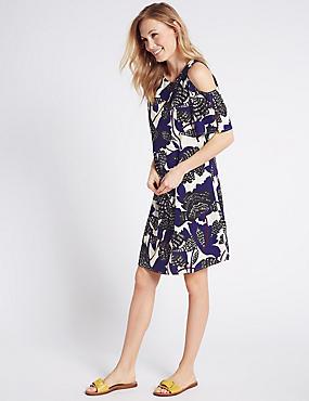 Uitlopende jurk met open schouder en bloemmotief, BLAUW MIX, catlanding