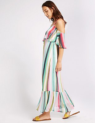 Striped Frill Cold Shoulder Shift Maxi Dress, MULTI, catlanding