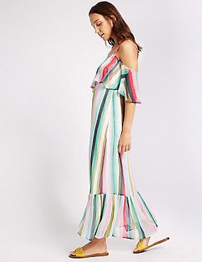 Gestreepte, rechte maxi-jurk met open schouder en volants, MULTI, catlanding