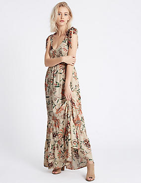 Floral Print Tie Shoulder Maxi Dress, BEIGE MIX, catlanding