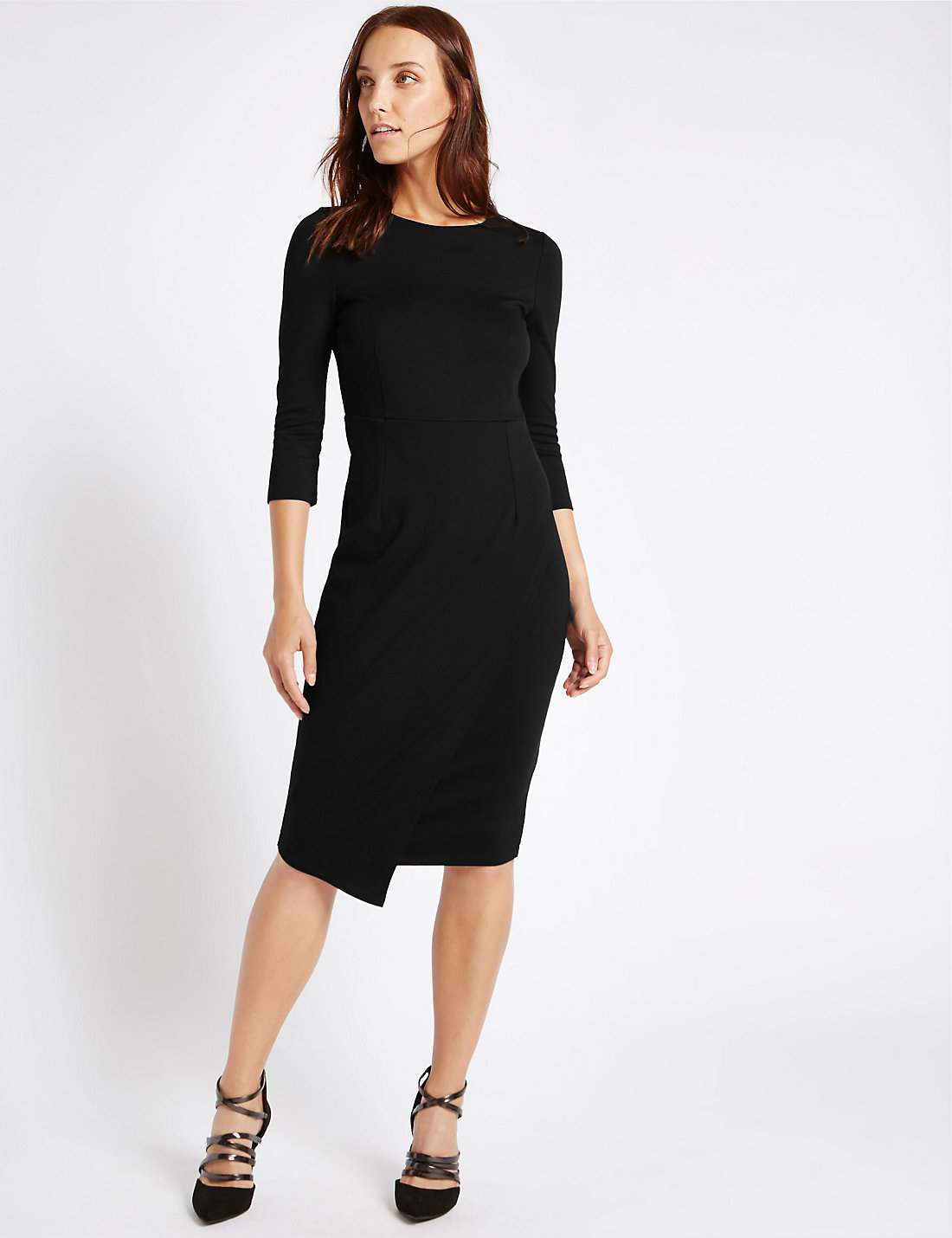 Black dress quarter sleeve - Mock Wrap 3 4 Sleeve Bodycon Dress