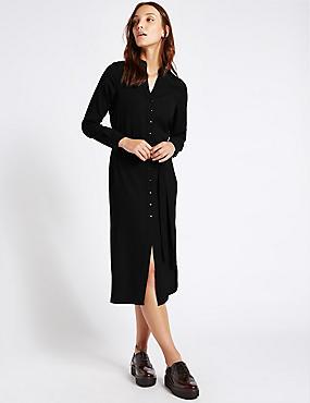 Long Sleeve Shirt Midi Dress with Belt, BLACK, catlanding