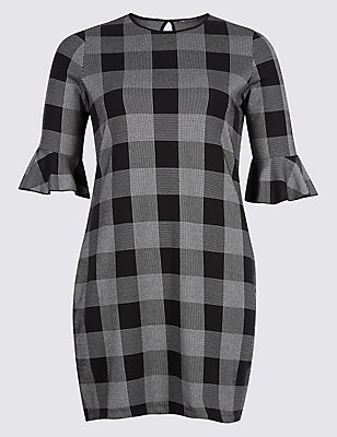 PLUS Cotton Rich Striped Check Tunic Dress, , catlanding