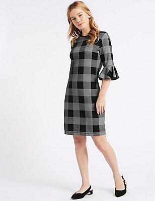 PETITE Cotton Rich Checked Tunic Dress, BLACK MIX, catlanding