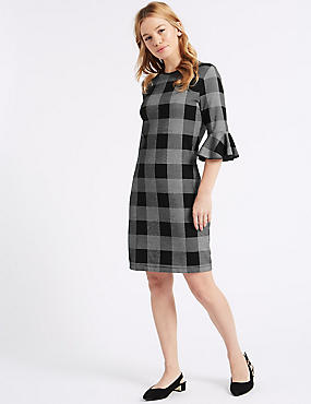 PETITE Cotton Rich Checked Tunic Dress, BLACK MIX, catlanding