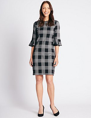Cotton Rich Checked 3/4 Sleeve Tunic Dress, BLACK MIX, catlanding