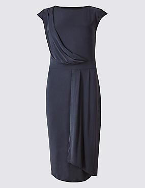 PETITE Modal Rich Drape Wrap Midi Dress, NAVY, catlanding