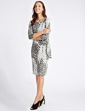 Animal Print Drape Waist Bodycon Midi Dress, GREY MIX, catlanding