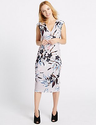 PETITE Floral Print Bodycon Midi Dress, IVORY MIX, catlanding