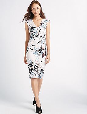 Smudge Floral Print Bodycon Midi Dress, IVORY MIX, catlanding