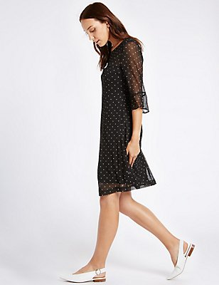 Spotted Flared Sleeve Tunic Midi Dress, BLACK MIX, catlanding