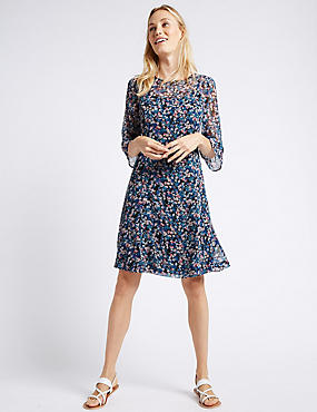 Ditsy Print Flared Sleeve Swing Dress, GREY MIX, catlanding
