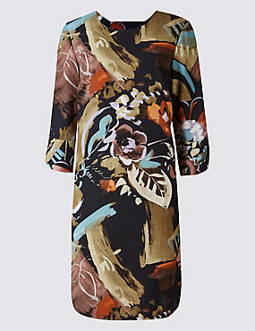 PLUS Printed Bar Back Tunic Midi Dress, NAVY MIX, catlanding