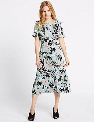 PETITE Floral Print Tunic Midi Dress, LIGHT BLUE MIX, catlanding
