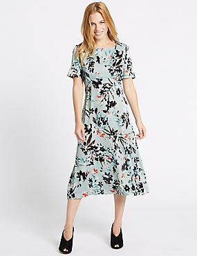 PETITE– Robe midi style tunique coupe près du corps à imprimé fleuri, BLEU CLAIR ASSORTI, catlanding