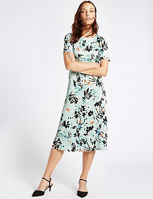Floral Print Short Sleeve Midi Dress, LIGHT BLUE MIX, catlanding