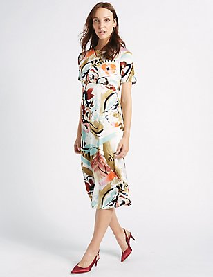 Painted Floral Print Swing Midi Dress, IVORY MIX, catlanding