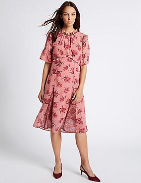 Kurzarm-Midi-Kleid mit Blumendruck und Rüschen, ROSA MELANGE, catlanding