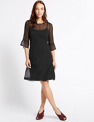 3/4 Sleeve Swing Midi Dress, BLACK, catlanding