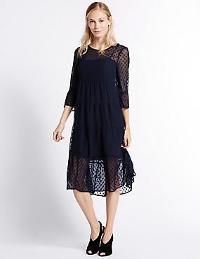 Polka Dot 3/4 Sleeve Tunic Midi Dress, NAVY, catlanding
