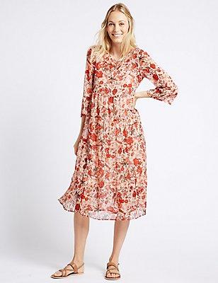 Floral Print Tiered 3/4 Sleeve Midi Dress, IVORY MIX, catlanding