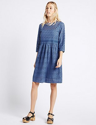 Pure Cotton Cutwork Tunic Midi Dress, BLUE, catlanding