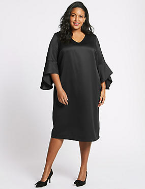 CURVE Flute Sleeve Tunic Midi Dress, BLACK, catlanding
