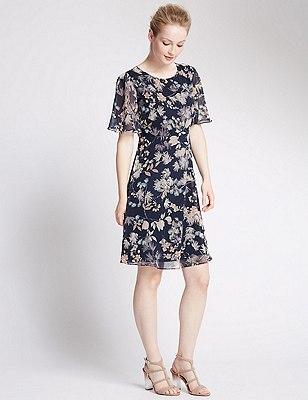 PETITE Floral Cape Back Fit & Flare Dress, NAVY MIX, catlanding