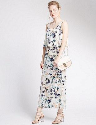 PETITE Oriental Floral Maxi Dress, IVORY MIX, catlanding