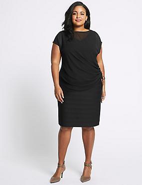 CURVE Double Layer Bodycon Midi Dress, BLACK, catlanding