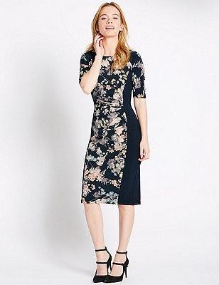 PETITE Oriental Floral Bodycon Dress, NAVY MIX, catlanding