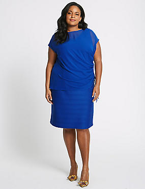 CURVE Double Layer Bodycon Midi Dress, BLUE, catlanding