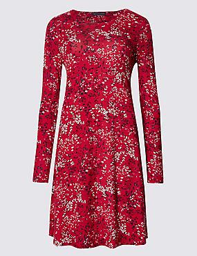 Wijd uitlopende jurk met bloemmotief, ROOD MIX, catlanding