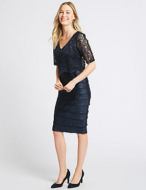 Lace Shutter Pleated Shift Midi Dress, NAVY, catlanding