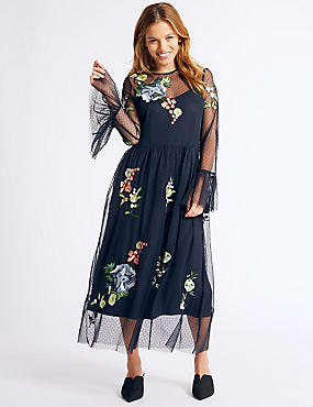PETITE Embroidered Skater Midi Dress, NAVY MIX, catlanding