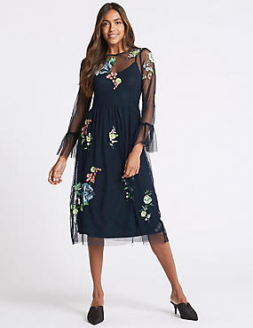 Embroidered Mesh Long Sleeve Midi Dress, NAVY MIX, catlanding