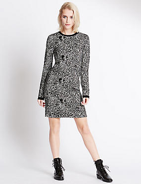 Jacquard Long Sleeve Printed Dress, BLACK MIX, catlanding