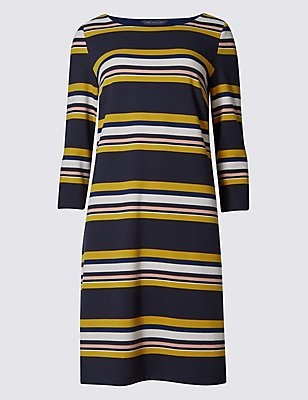 Multi Stripe 3/4 Sleeve Tunic, NAVY MIX, catlanding