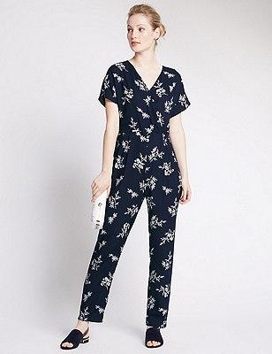 PETITE Floral Jumpsuit, NAVY MIX, catlanding