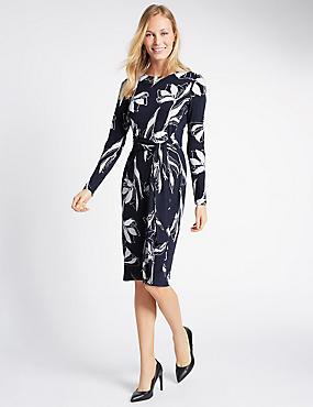 Tie Front Long Sleeve Bodycon Dress, BLUE MIX, catlanding