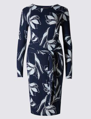 Платье-бодикон с крупными цветами и поясом M&S Collection T422146