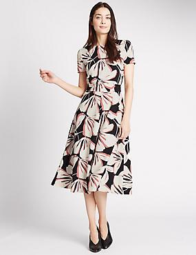 Floral Print Short Sleeve Skater Dress, BROWN MIX, catlanding