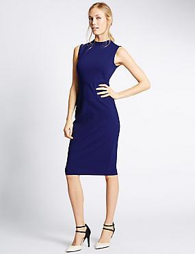Ponte Sleeveless Bodycon Dress, RICH BLUE, catlanding