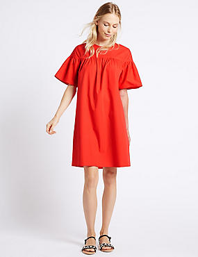Pure Cotton Flared Sleeve Tunic Dress, RED, catlanding