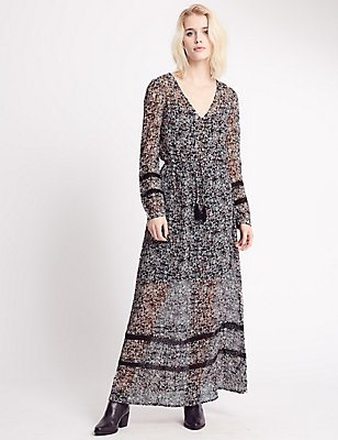 Ditsy Print Long Sleeve Maxi Dress, BLACK MIX, catlanding