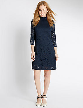 PETITE Lace 3/4 Sleeve Skater Dress, NAVY, catlanding