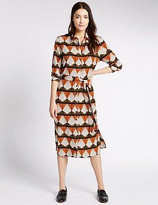Geometric Print Shirt Dress with Belt, ORANGE MIX, catlanding