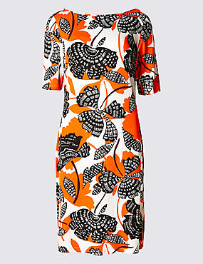 Floral Print Half Sleeve Tunic Dress, ORANGE MIX, catlanding