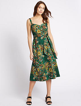Cotton Rich Floral Print Slip Dress, GREEN MIX, catlanding