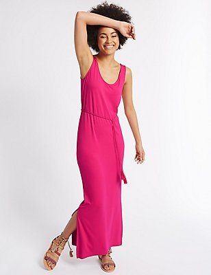 Tie Front Side Split Maxi Dress, PINK, catlanding